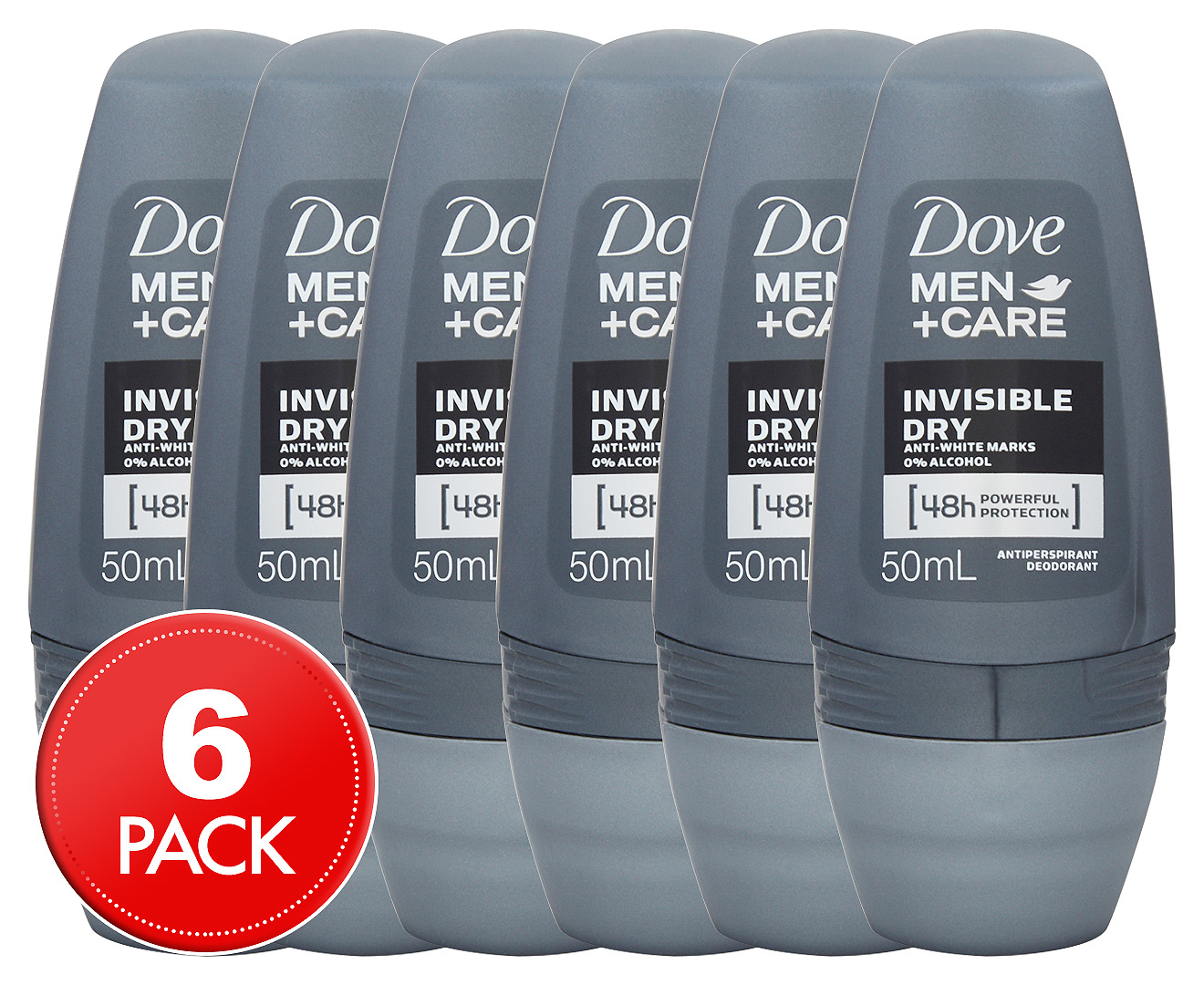 6 x dove men care invisible dry antiperspirant roll on for Men s antiperspirant that doesn t stain shirts