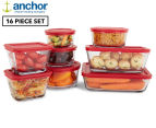 Anchor 16-Piece Glass Storage Set - Red 1