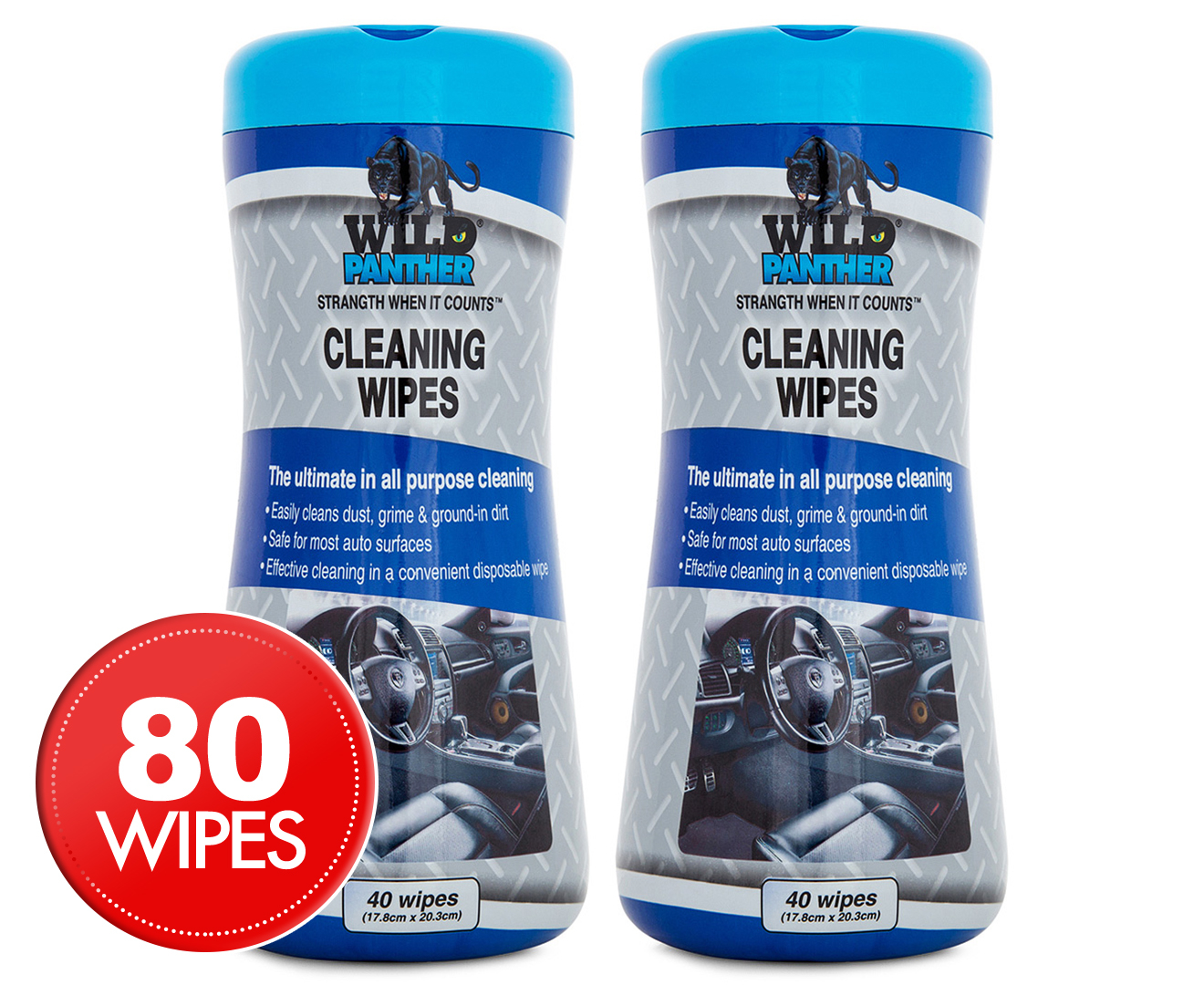 2 x wild panther cleaning wipes 40pk great daily deals at australia 39 s favourite superstore. Black Bedroom Furniture Sets. Home Design Ideas