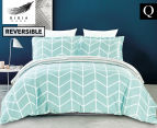 Gioia Casa Kew Queen Bed Quilt Cover Set - Mint Green/White 1