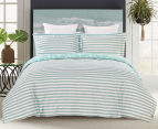 Gioia Casa Kew Queen Bed Quilt Cover Set - Mint Green/White 2