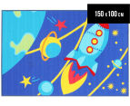 Spaceship 150x100cm Kids' Rug - Blue 1
