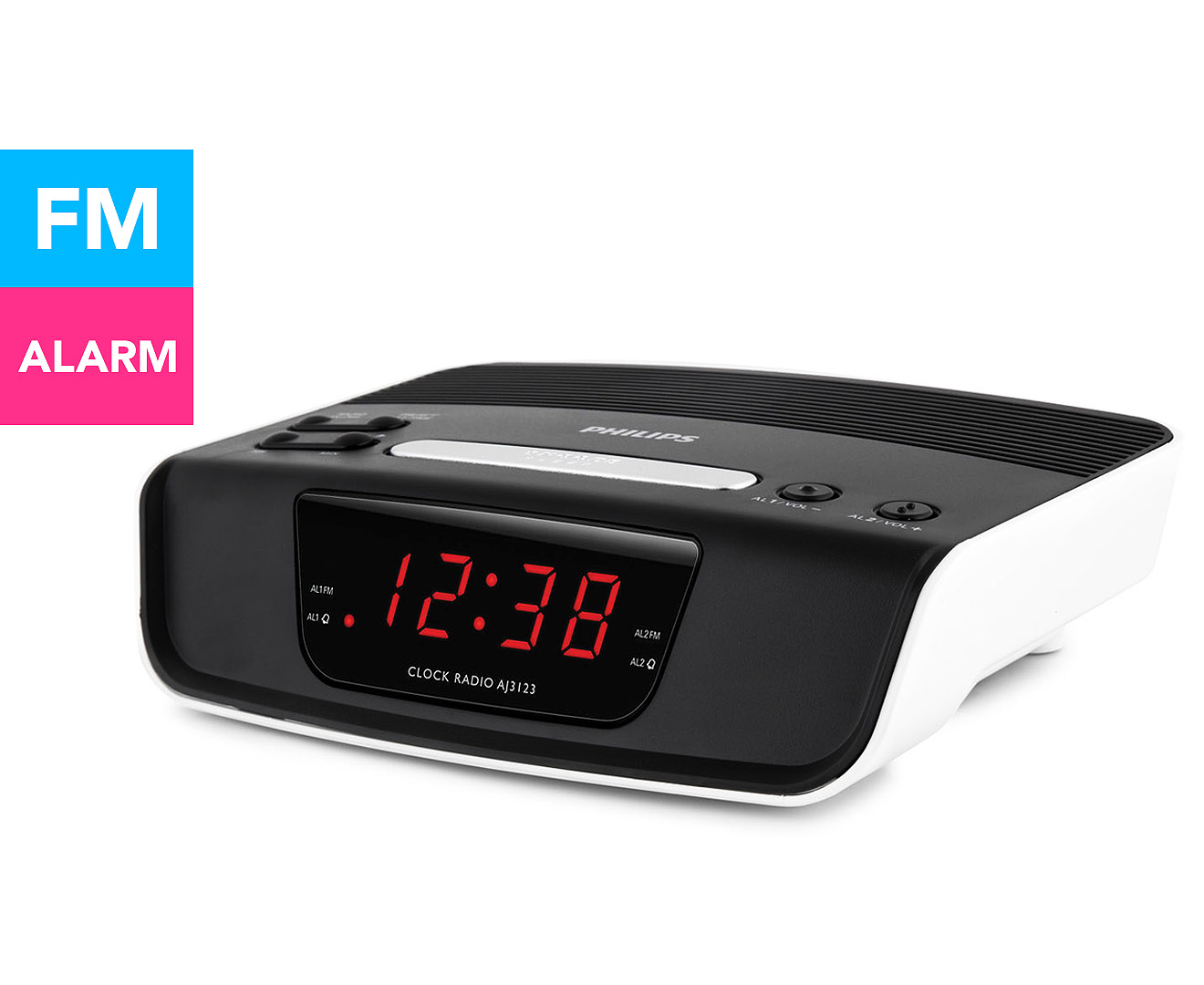 philips digital tuning 24hr clock radio black white great daily deals at australia 39 s. Black Bedroom Furniture Sets. Home Design Ideas