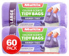 2 x 30pk Multix Colour Scents Handy Ties Large Tidy Bags   1