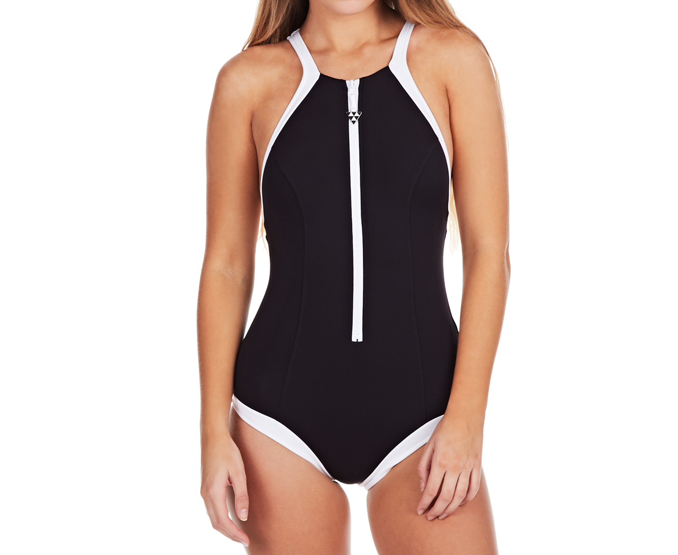 seafolly women 39 s block party high neck maillot black ebay. Black Bedroom Furniture Sets. Home Design Ideas
