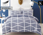 Gioia Casa Mandy King Bed Quilt Cover Set - Grey/White 1