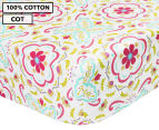 The Peanut Shell Damask Fitted Cot Sheet - Coral/Aqua 1
