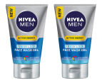 2 x Nivea Men Active Energy Fresh Look Face Wash Gel 100mL 1