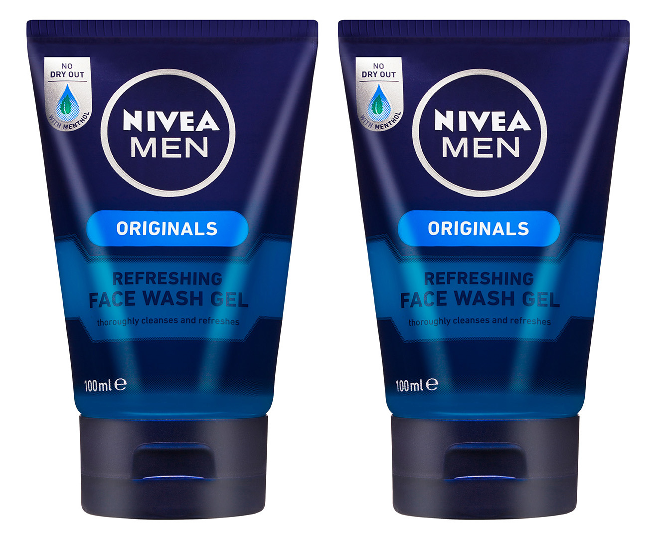 2 x Nivea Men Originals Refreshing Face Wash Gel 100mL