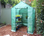 Greenlife 4-Tier Walk-In Greenhouse w/ PE Cover - Green 1