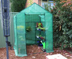 Greenlife 4-Tier Walk-In Greenhouse w/ PE Cover - Green 3