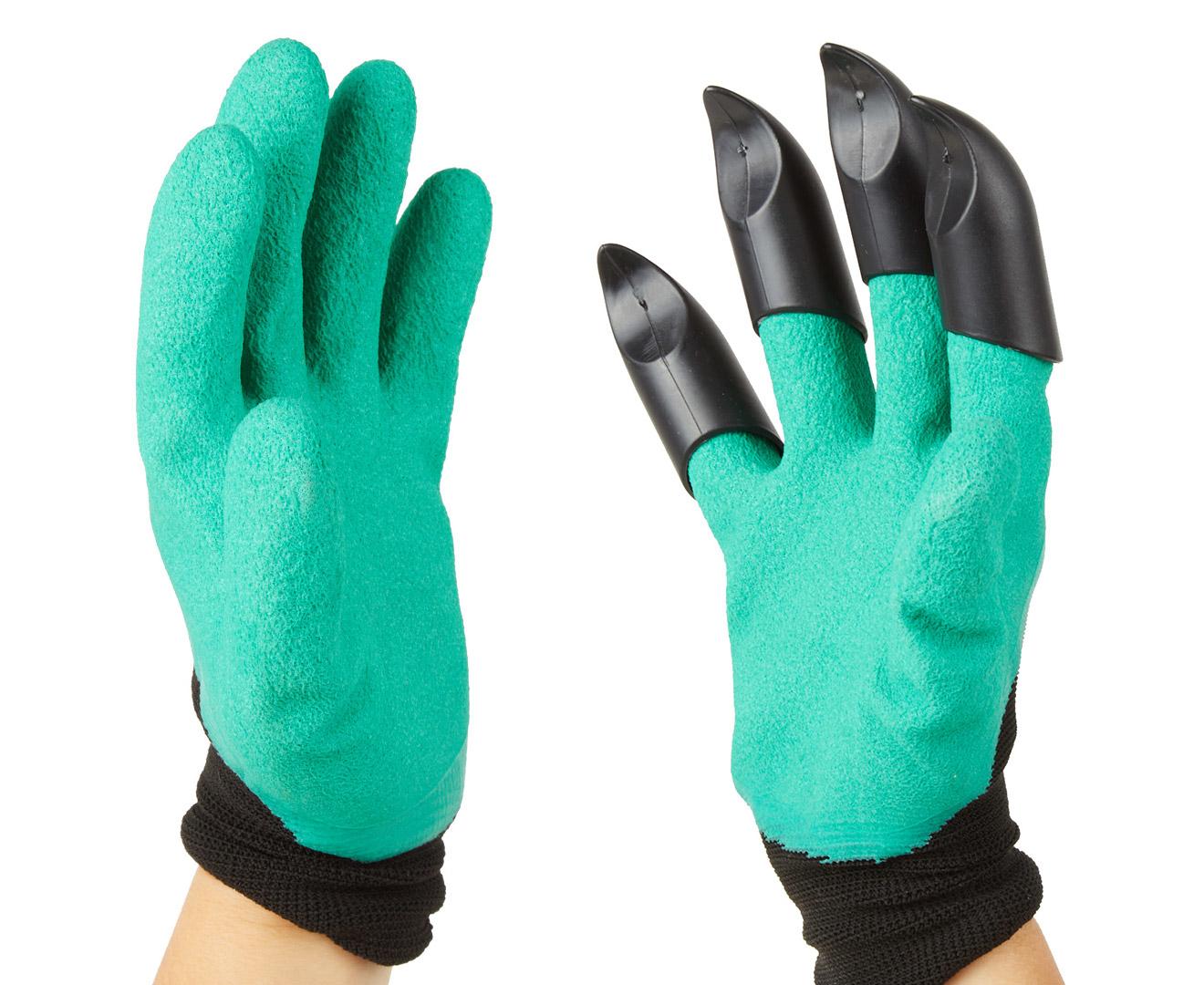 Garden Gloves W Claws Green Black
