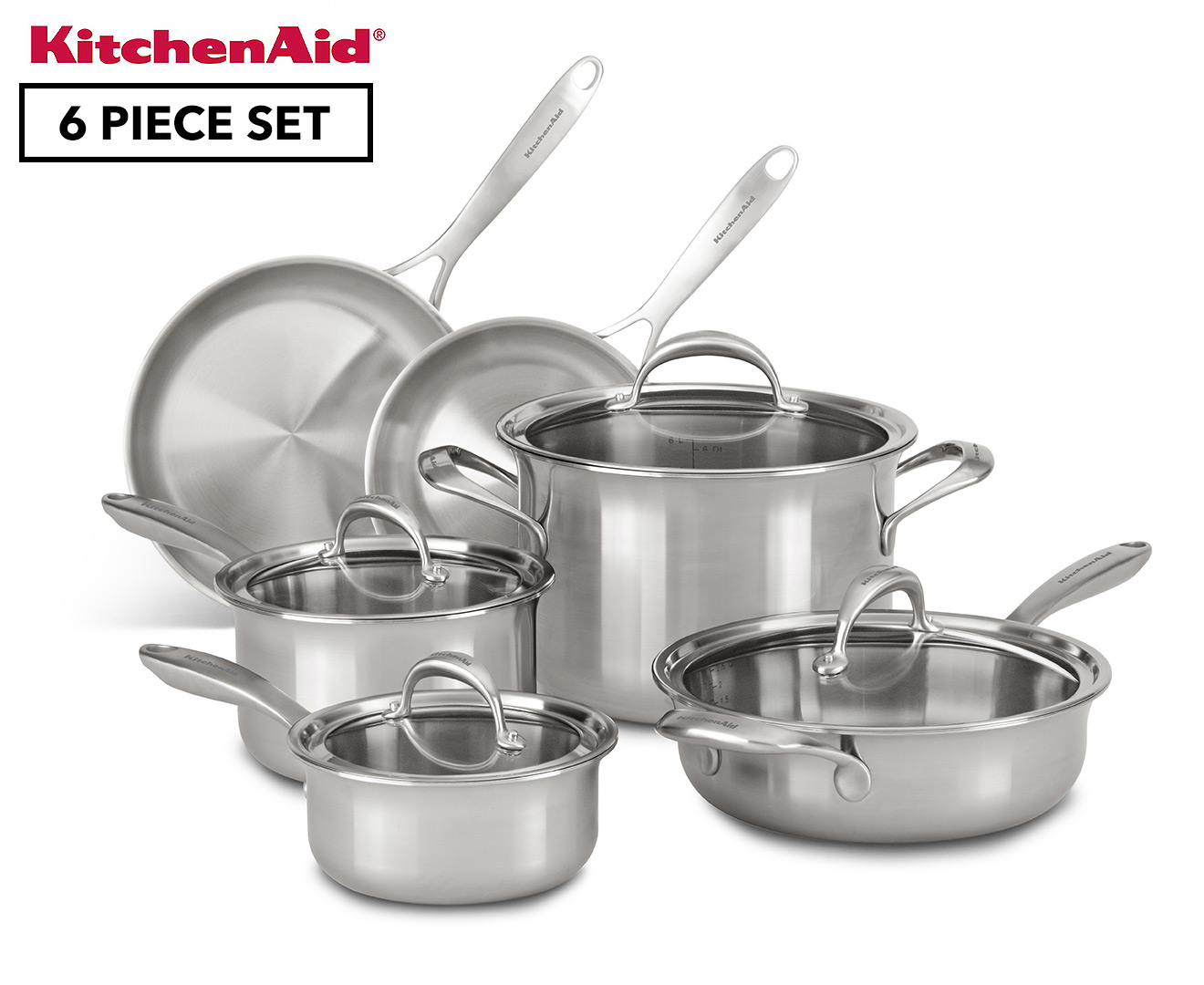 Kitchenaid copper core cookware 6 piece set silver for Kitchen set 008 58