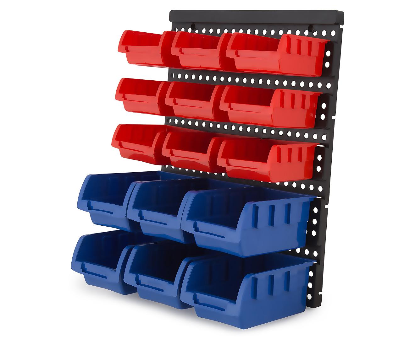 30 bin wall mounted storage rack ebay. Black Bedroom Furniture Sets. Home Design Ideas