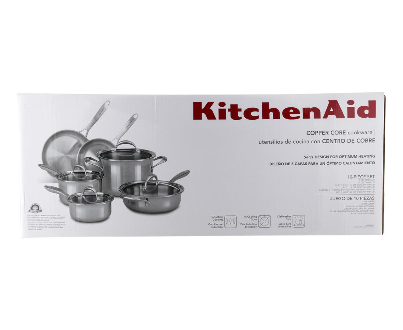 Kitchenaid copper core cookware 6 piece set silver for Kitchenaid 6 set