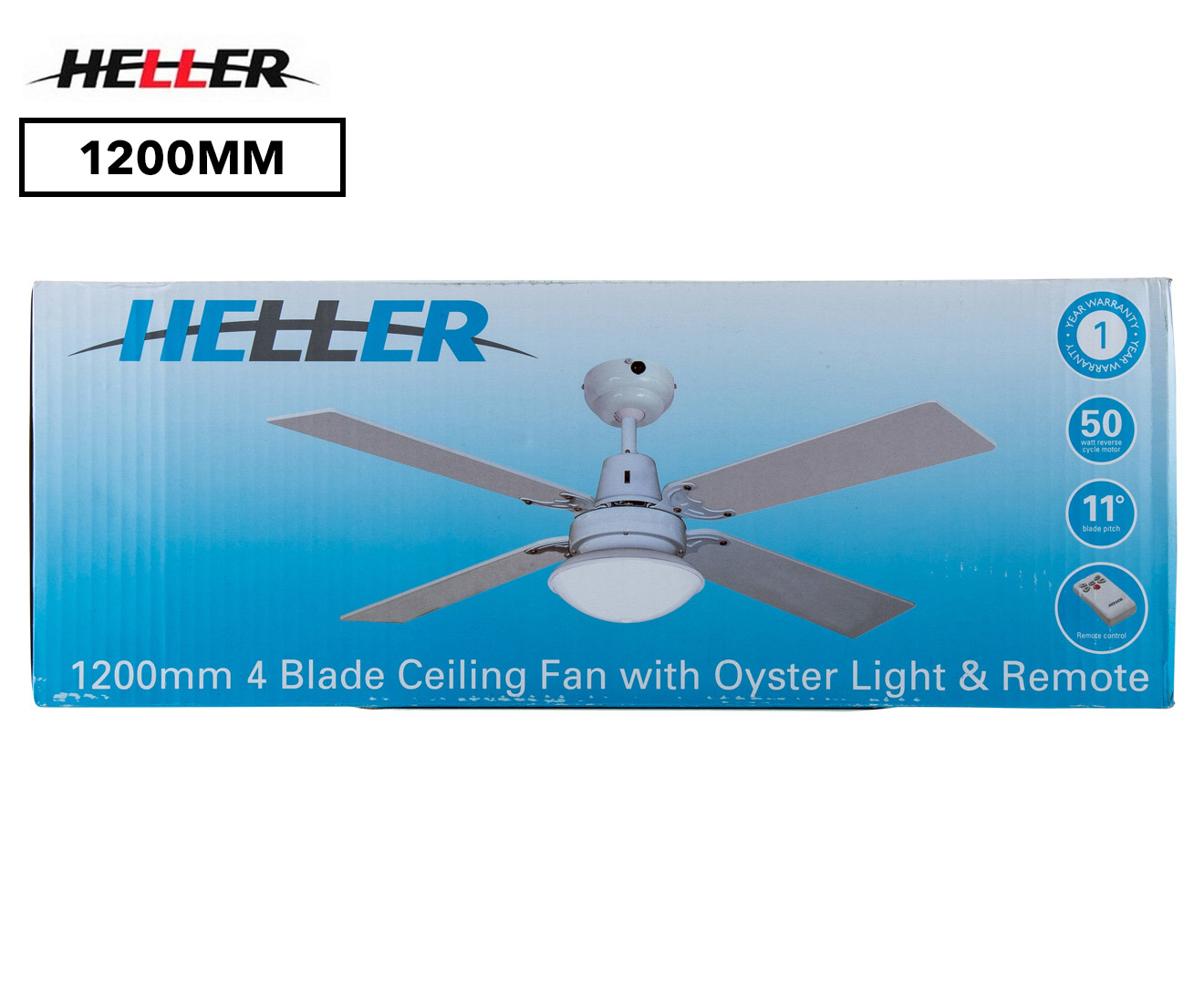 Heller Sienna 1200mm Reversible 4 Blade Ceiling Fan