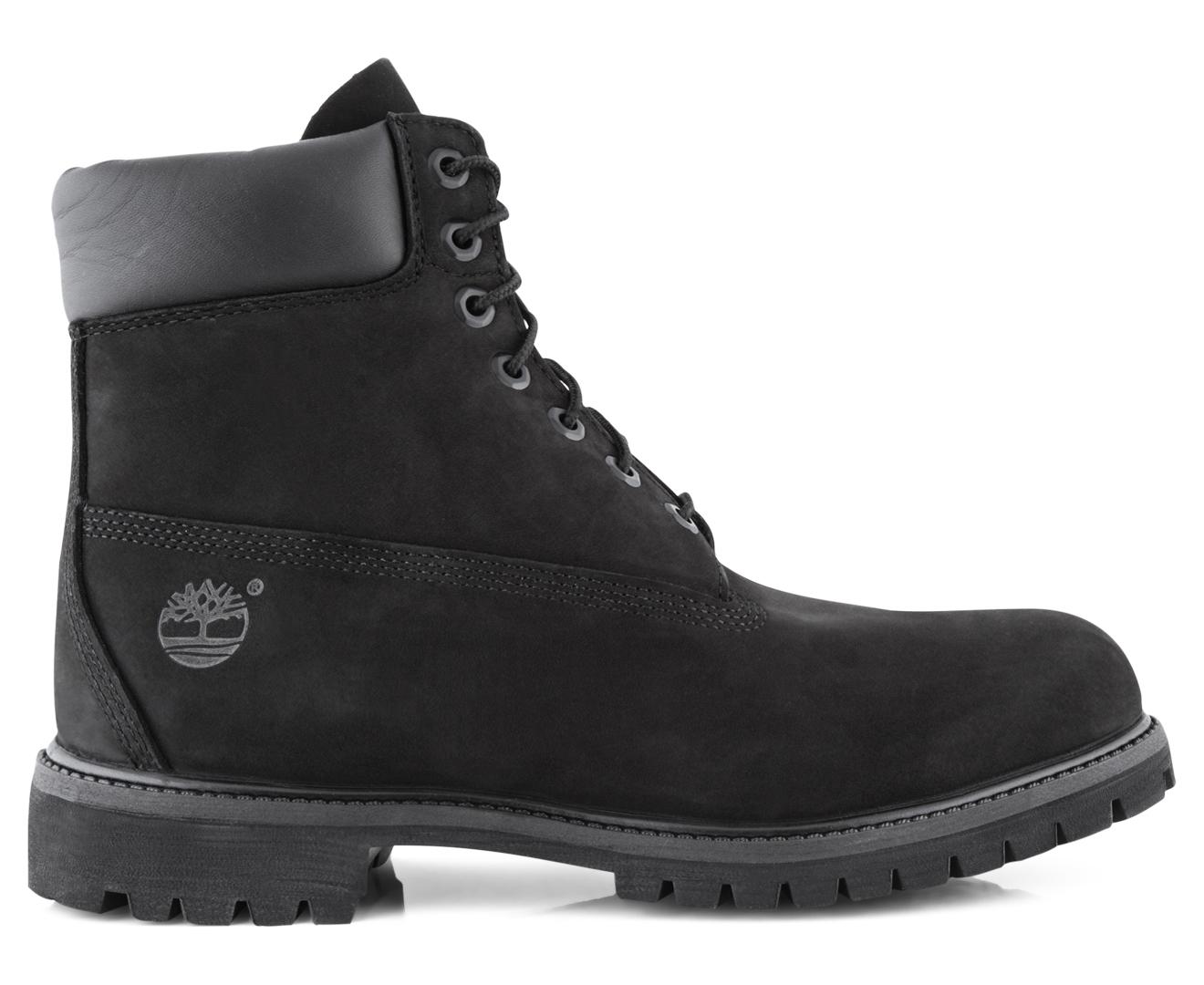 timberland men's 6 premium waterproof boot black nubuck