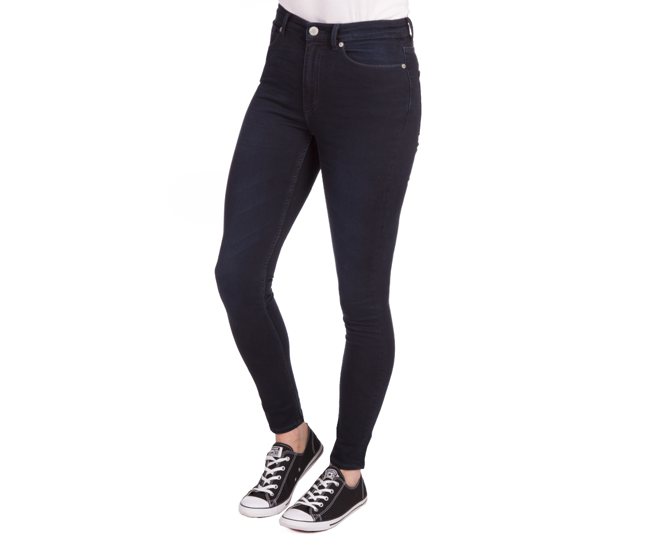 New listing CHEAP MONDAY Ladies DARK Blue Stretchy Button FLY JEANS SIZE W 24 L