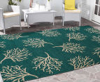 Branches 320x230cm UV Treated Indoor/Outdoor Rug - Teal 2