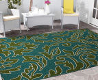 Falling Leaves 270x180cm UV Treated Indoor/Outdoor Rug - Green/Blue 2