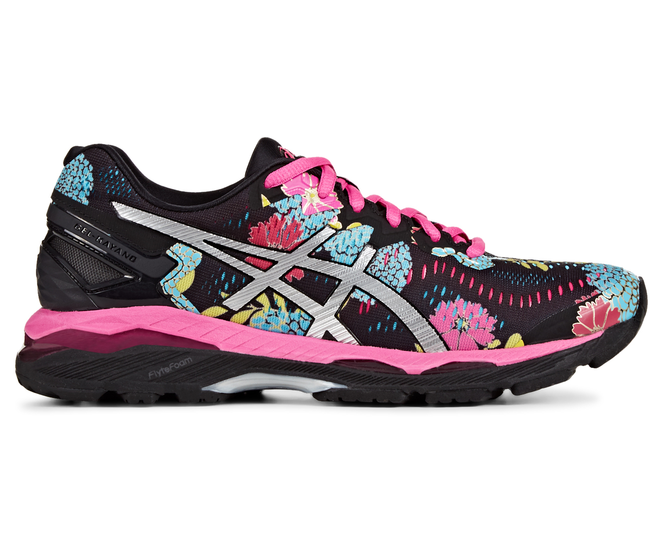 Asics Women S Gel Kayano 23 Shoe Black Silver Pink Glow