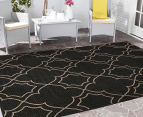 Geometric 320x230cm UV Treated Indoor/Outdoor Rug - Charcoal 2
