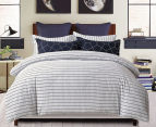 Gioia Casa Fred 100% Cotton Reversible Queen Bed Quilt Cover Set - Dark Navy/White 2