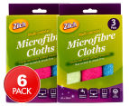 2 x Zilch 30x30cm Multi-Purpose Microfibre Cloths 3pk 1