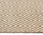 Kesa 320x230cm Cotton & Jute Collection Diamond Rug - Beige 3