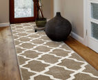 Rug Culture 400x80cm Iconic Shine Durable Contemporary Trellis Runner - Beige 2