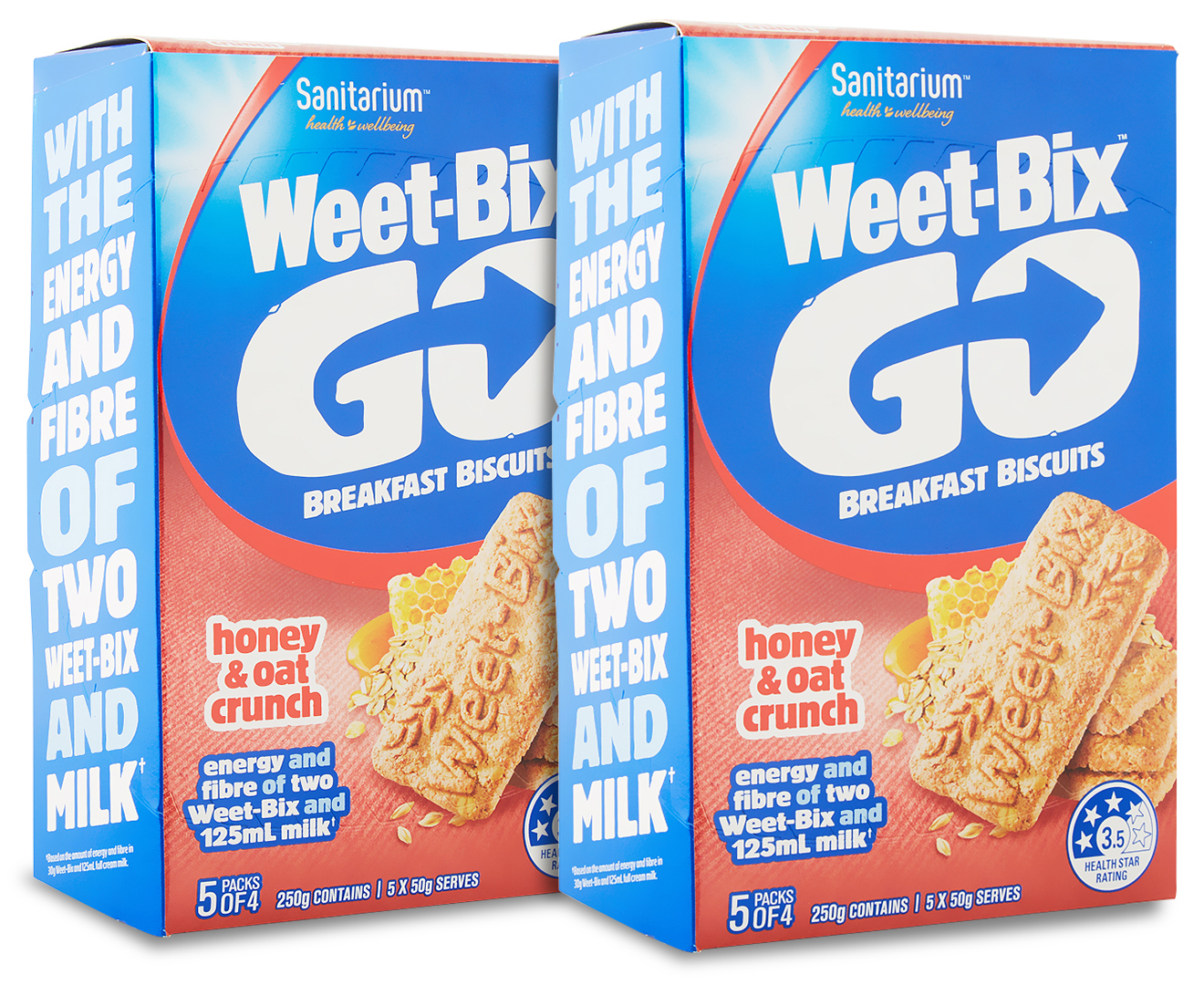 2 x Sanitarium Weet-Bix Go Breakfast Biscuits Honey & Oat Crunch 250g | Catch.com.au