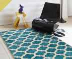 Rug Culture 320x230cm Zen Digital Print Trellis Rug - Blue 2