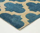 Rug Culture 320x230cm Zen Digital Print Trellis Rug - Blue 4