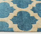 Rug Culture 320x230cm Zen Digital Print Trellis Rug - Blue 5