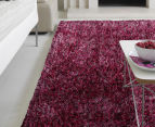 London Metallic 130x70cm Chunky & Thin Shag Rug - Berry 2