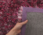 London Metallic 130x70cm Chunky & Thin Shag Rug - Berry 4