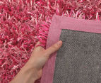 London Metallic 130x70cm Chunky & Thin Shag Rug - Pink 4