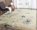 Urban Floor Art Peacock Feathers 330x240cm Jute Rug - Cream 2