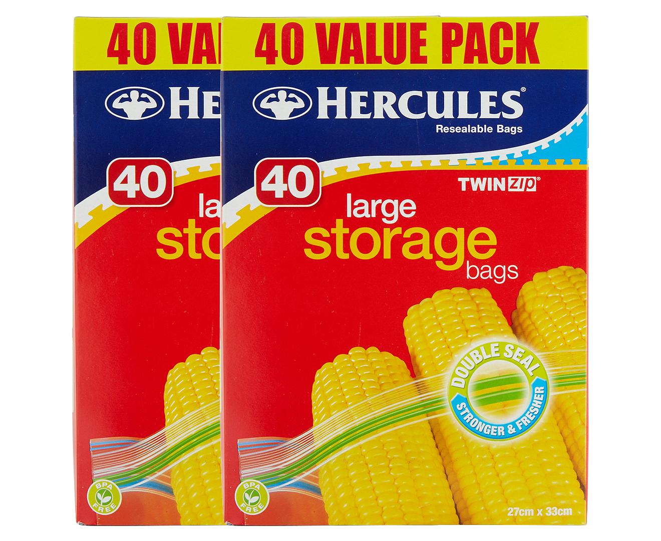 2 x Hercules Twin Zip Large Storage Bags 40pk