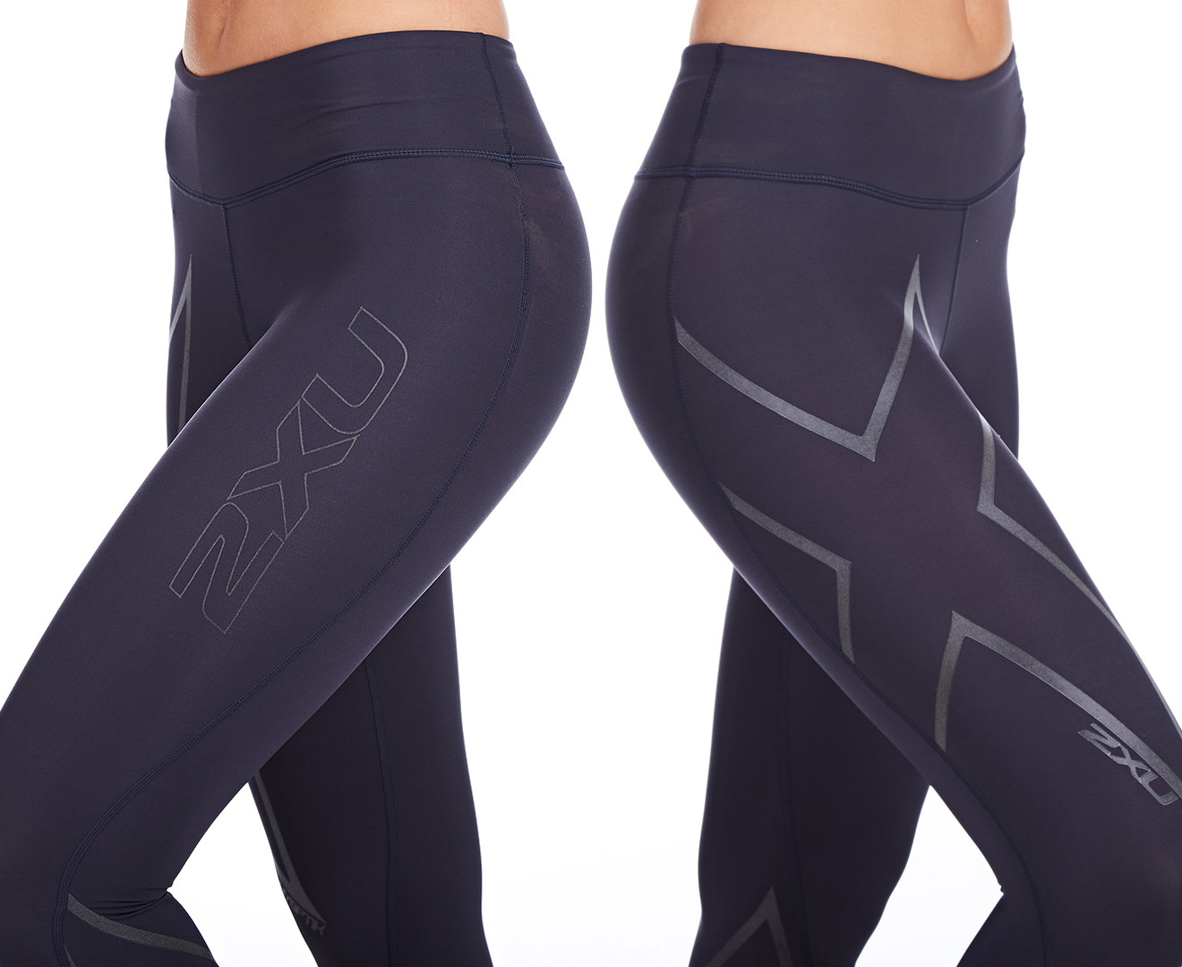d8dc70e1d3 Women's 2XU Hyoptik Mid-Rise Compression Tights - Steel/Black Reflective |  Catch.com.au