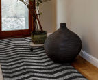 Rug Culture 400x80cm Chevron Runner Rug - Charcoal 2