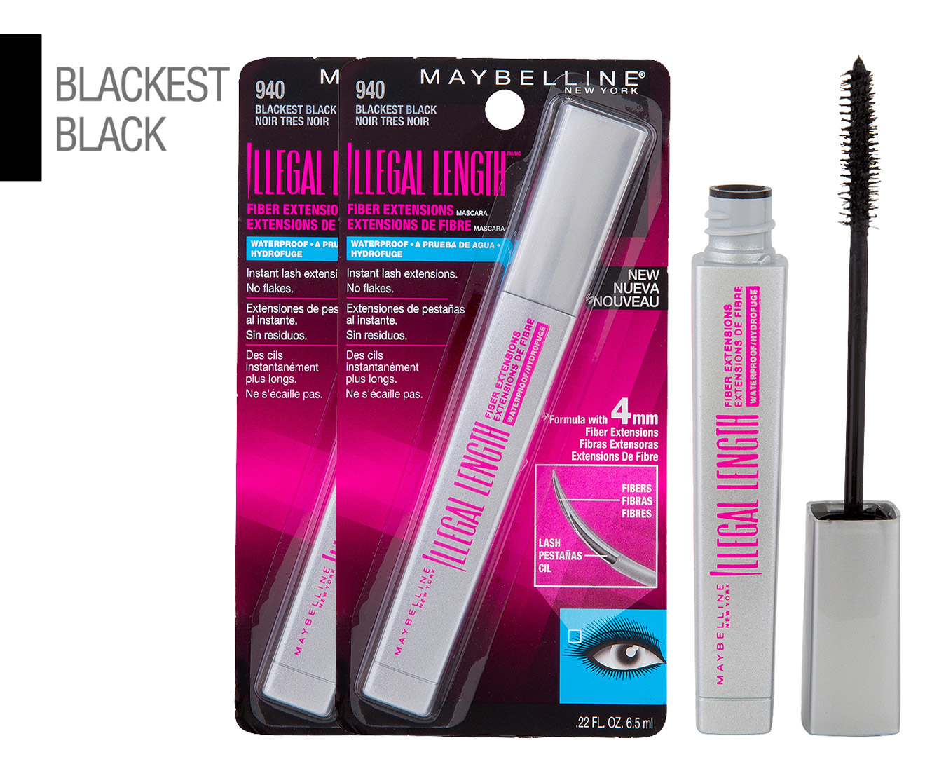 bfc198ca80b 2 x Maybelline Illegal Length Fiber Extensions Waterproof Mascara 6.5mL -  #940 Blackest Black | Catch.com.au