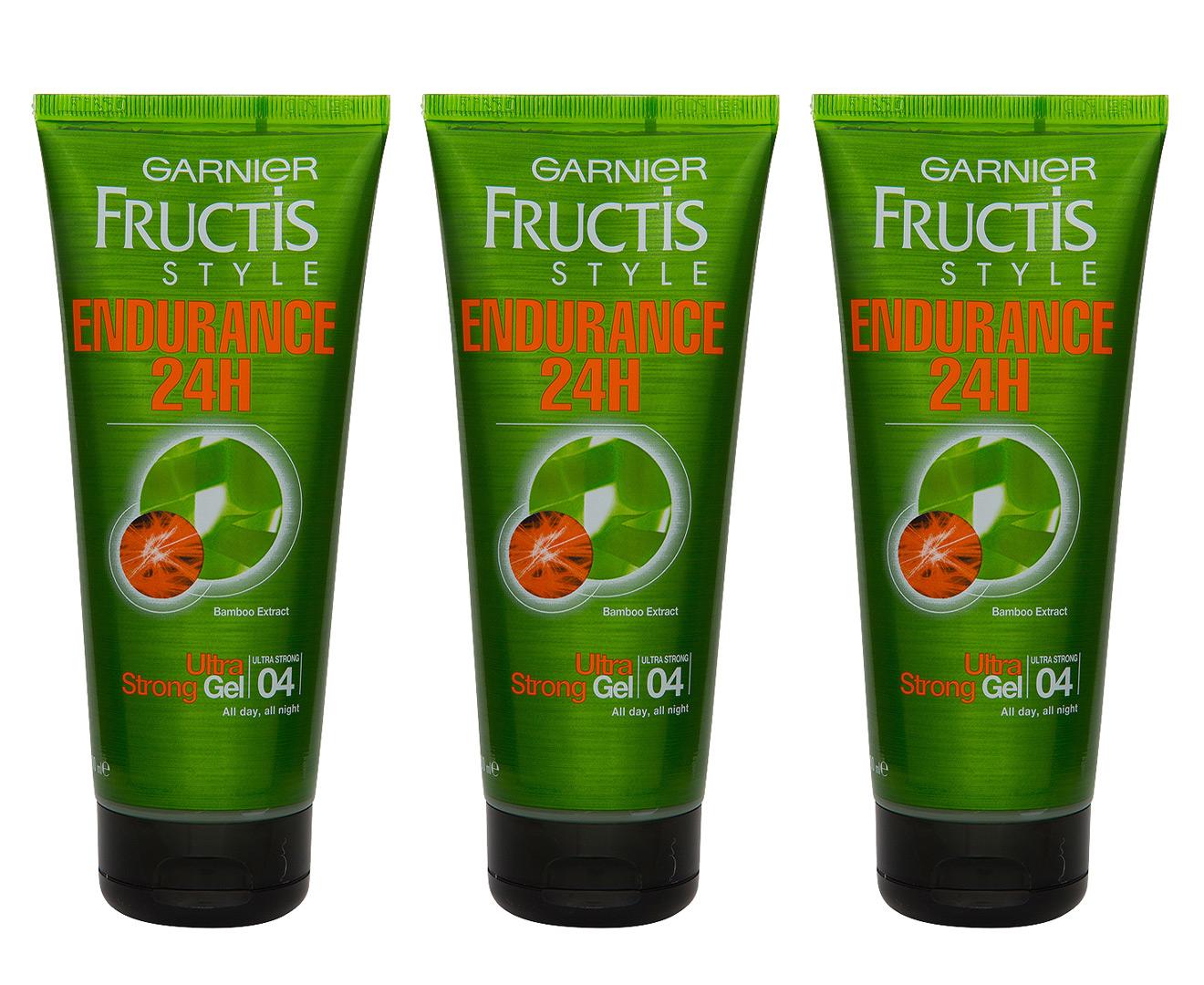 3 x Garnier Fructis Ultra Strong Endurance 24H Gel 200mL