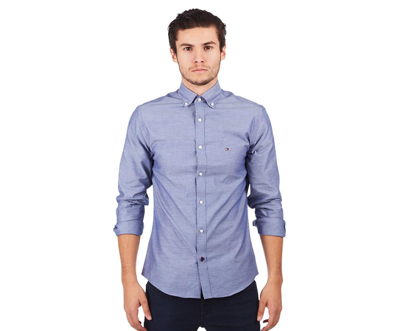 Tommy hilfiger men 39 s slim fit oxford solid long sleeve for Men oxford slim fit long sleeve shirt