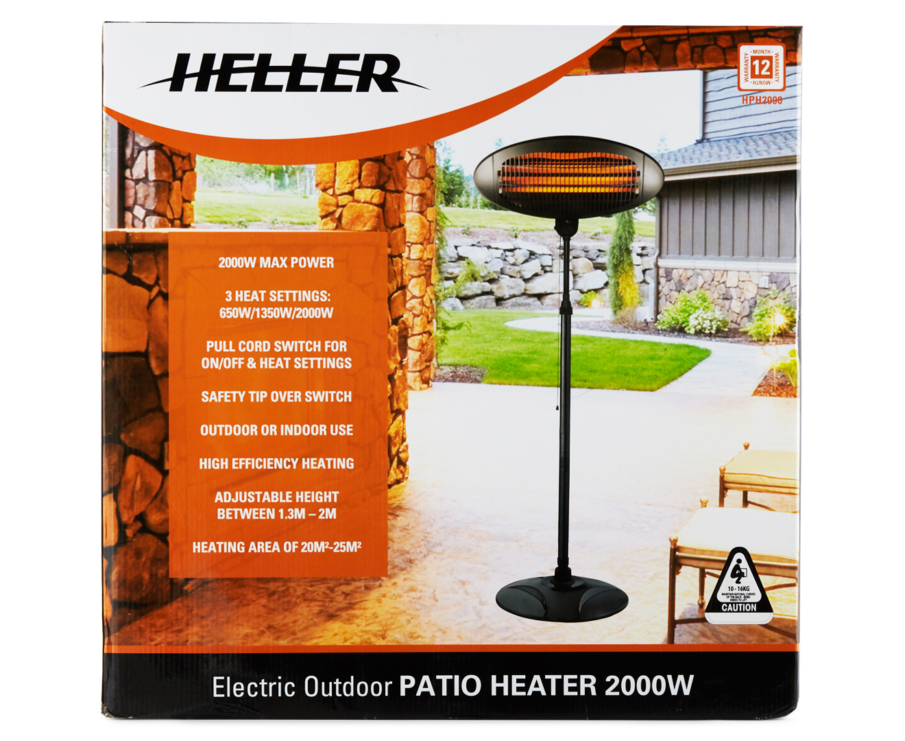 Heller 2000w Electric Outdoor Patio Heater Black Catch
