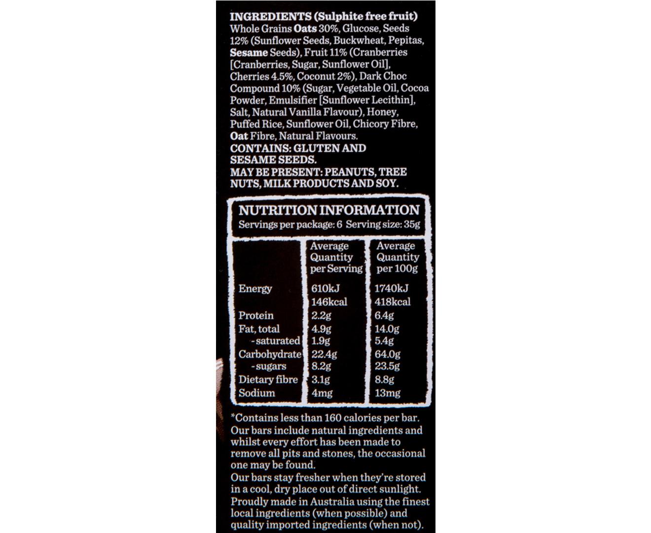 Details about 3 x Carman's Dark Choc, Cherry & Coconut Bars 210g 6pk