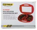 KC Tools 10-Piece Hex Bolster Screwdriver Set - Red/Black 1