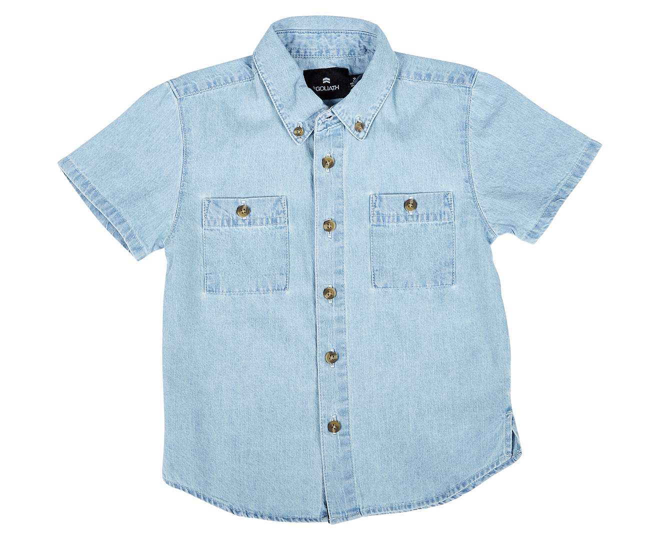 St goliath kids 39 aiden chambray shirt blue great daily for Chambray shirt for kids
