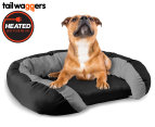 Heated Oval Pet Bed with Cushioned Walls by Tail Waggers - 68x50cm For Small/Medium Dogs 1