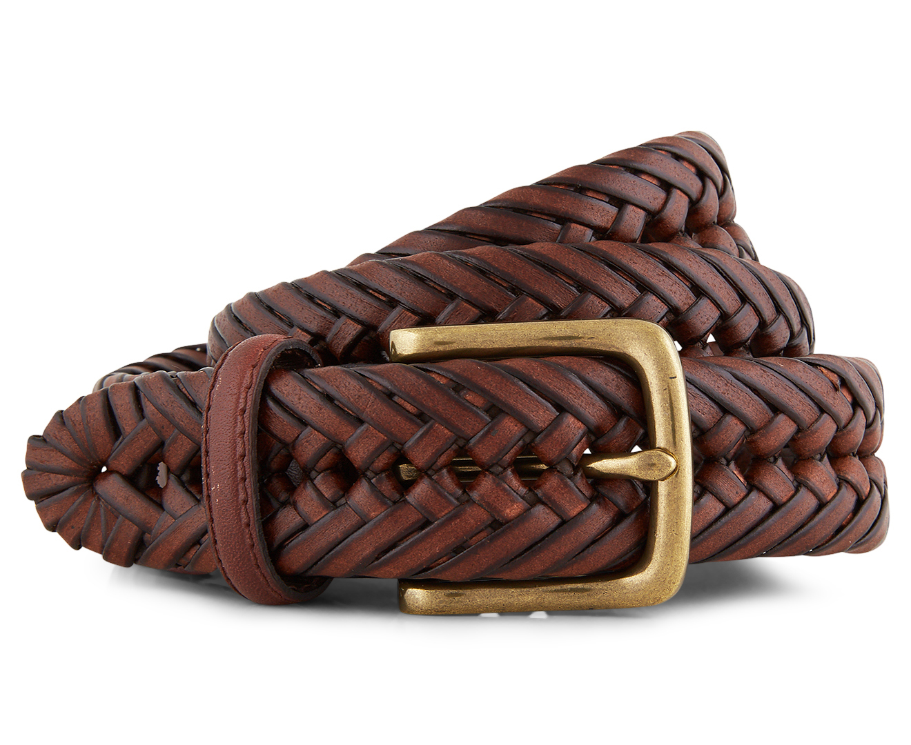 Tommy Hilfiger Men S Braided Leather Belt Tan Scoopon